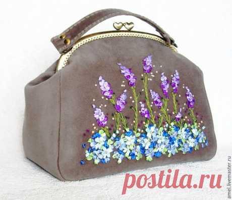 """Купить Сумка """"Лаванда и незабудки"""" - серый, цветочный, прованс, лаванда, незабудки, сумка женская"""