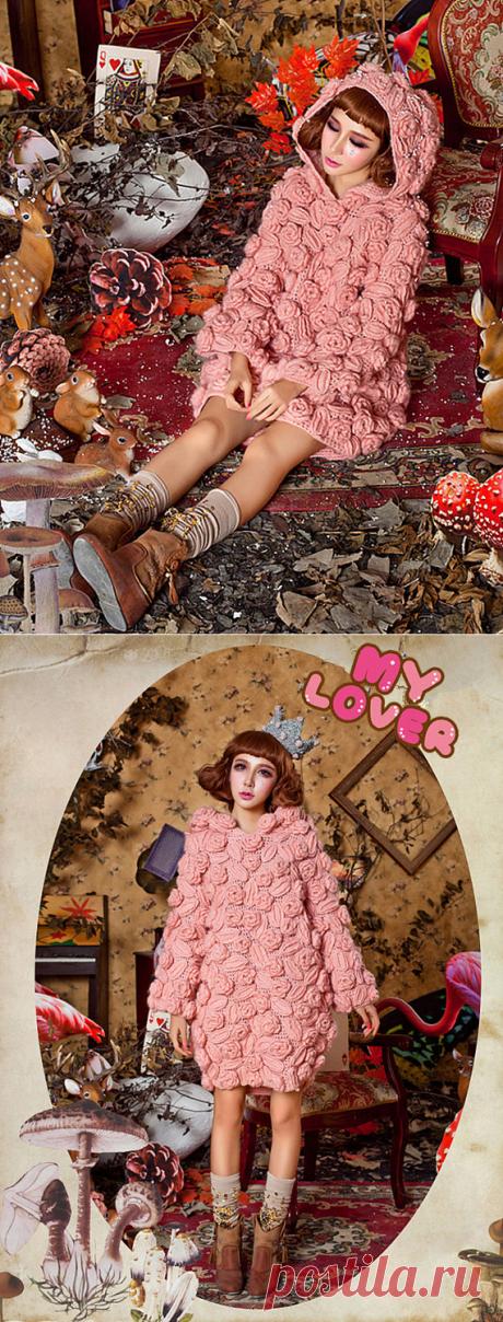 b20e2856ed7 Crochet flower dress Pink Roses spring dress custom