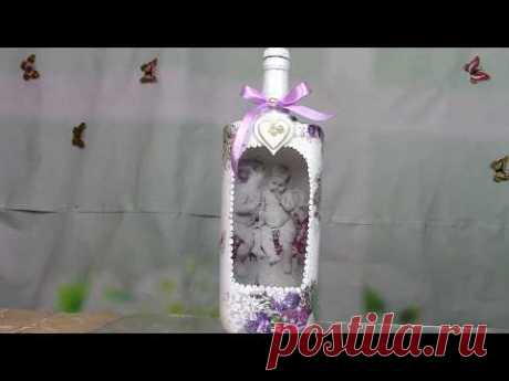 "Бутылка с ангелами/Bottle with angels.The method of ""reverse decoupage"". ХоббиМаркет"