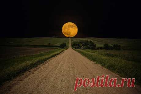 Road To Nowhere - Supermoon Photograph by Aaron J Groen