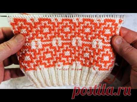 Мозаичный узор в виде каймы или полос / Вязание спицами.