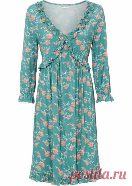 Платье с воланами - дымчато-зелёный в цветочек