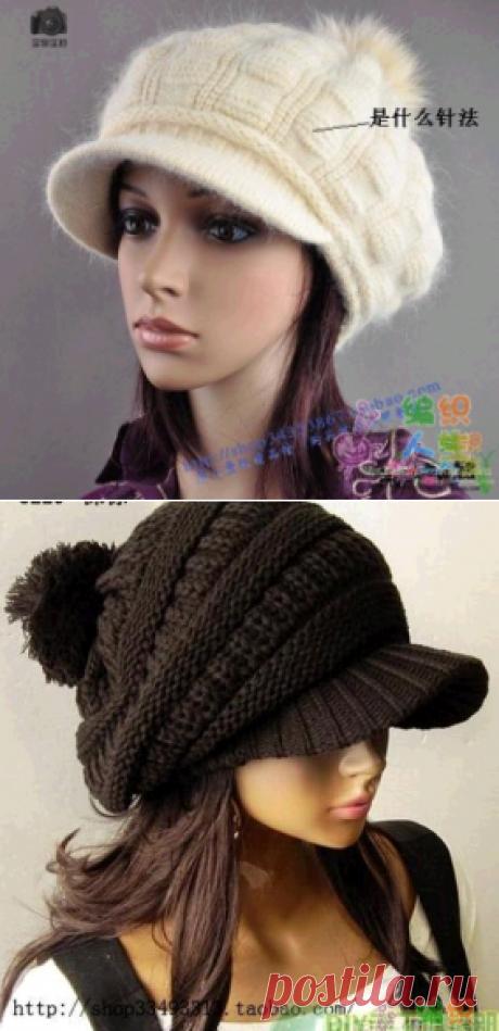 Вязаная шапка с цельновязанным воротником | Что на голову?