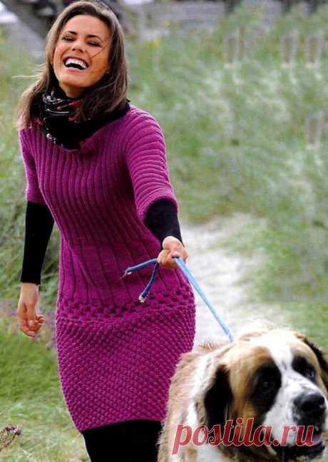 Платье каракулевым и сотовым узором (Вязание спицами) – Журнал Вдохновение Рукодельницы
