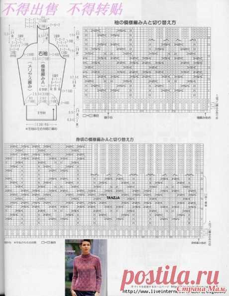 Женский свитер спицами с аранами по японским схемам от odalga (Страна Мам)