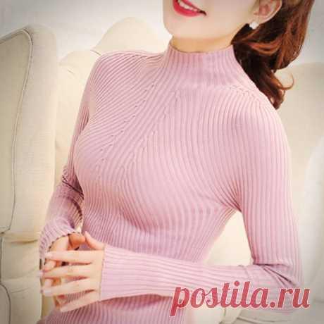 СКИДКА 36%! ВРЕМЯ ОГРАНИЧЕНО! БЕСПЛАТНАЯ ДОСТАВКА 8 цветов 2019 весенний женский свитер очень эластичный Однотонный свитер женский узкий сексуальный облегающий вязаный пуловер  https://ali.pub/3f1cx7