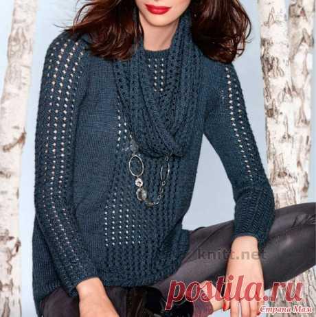 Вязаный пуловер с ажурными вставками и снуд - Вязание - Страна Мам