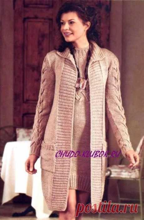 Пальто (такое же платье) вязаное спицами 10 | ✺❁сайт ЧУДО-клубок ❣ ❂✺Пальто (такое же платье) вязаное спицами 10 Выполнено спицами Размер 38 Вам потребуется: 800 г бежевой пряжи Merino Sport (100% шерсти, 120 м /50г), ❂ ►►➤6 000 ✿моделей вязания ❣❣❣ 70 000 узоров►►Заходите❣❣ %