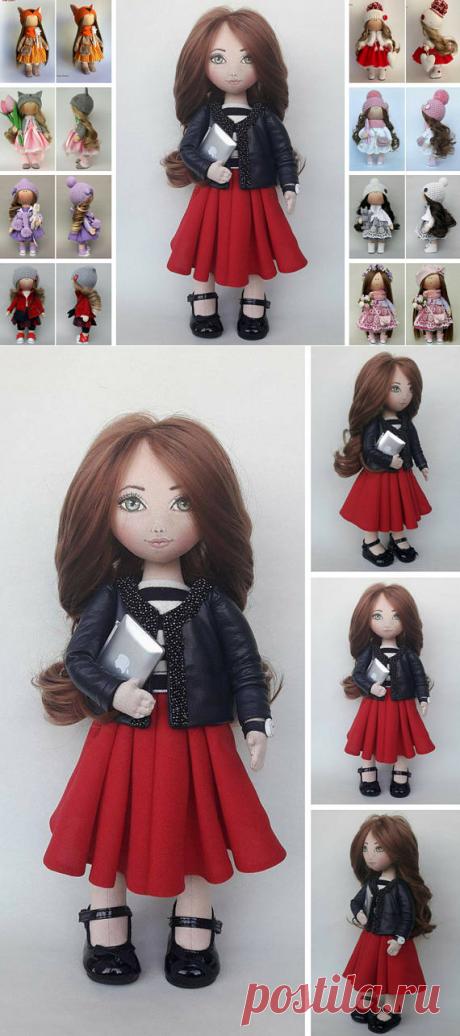 Tilda Doll Handmade Doll Fabric Doll Red Doll Photo doll
