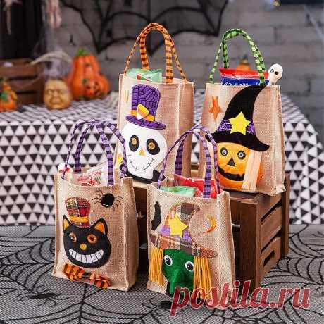 Children Halloween Style Decoration Skull Pumpkin Witches Pattern Linen Casual C - US$9.99