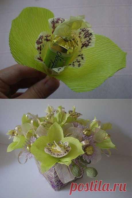 Конфетный букет Орхидеи МК.
