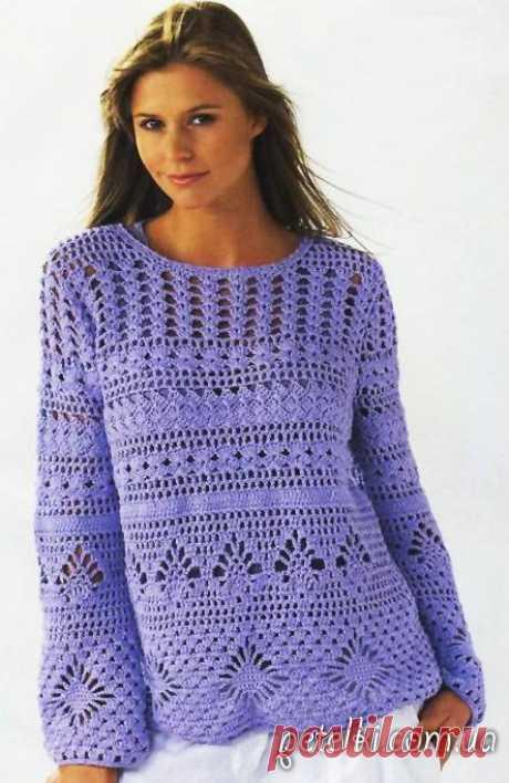 """Узорчатый пуловер крючком. Описание, схемы Ажурный пуловер, связанный крючком из различных ажурных узоров. Тут и """"паучки"""", и """"колоски"""", и """"ракушки"""", и другие любимые рисунки. Модель получается очень женственной и практичной, т.к ее можно носить сразу на бельё, а можно и погоду попрохладнее - на"""