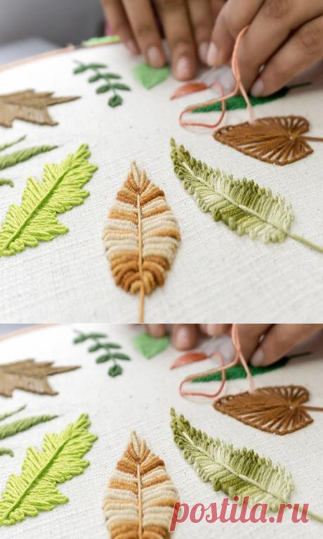 Как вышить листья