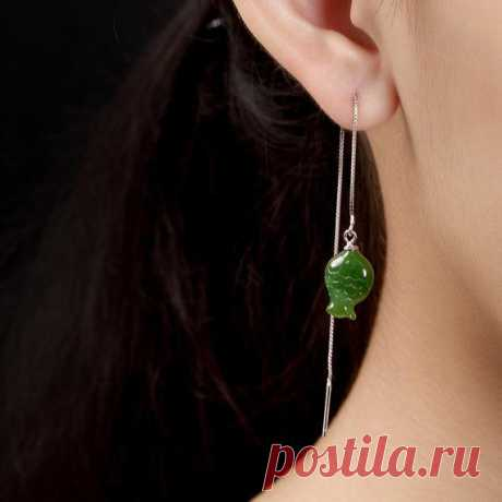Green jasper / small fish Ear wire / jade earrings / 925 silver earrings / Dangle & Drop Earrings/threader earrings Product Details:  Material: Hetian jade, 925 silver  Color: green  Shape: Butterfly  Size: fish 18, width 10.5, ear wire 9 (mm)  Weight: 3g (15 carats)  Translucent: translucent  Symbol: Good luck to you