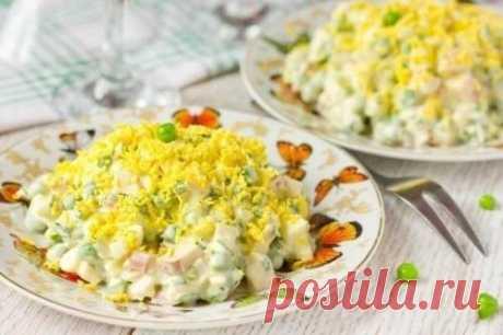 Салат с курицей, оливками и зеленым горошком - рецепт с фото / Простые рецепты