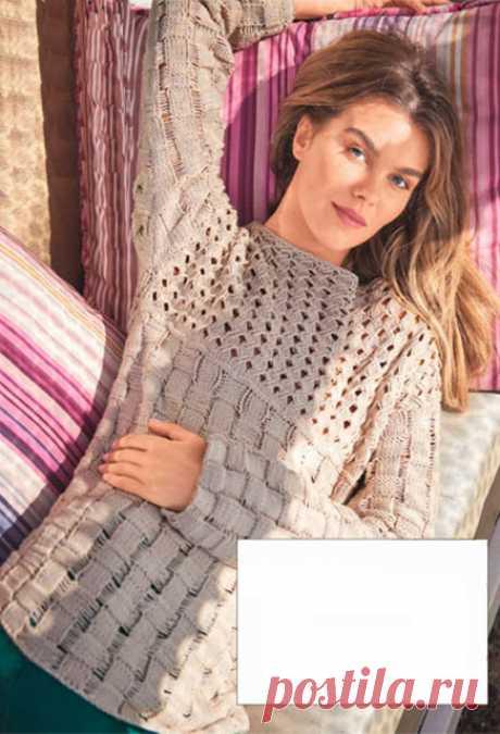 Джемпер узорами Плетенка и Бриды спицами – схемы и описание