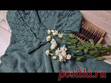 """Платье спицами """"Малахит"""". Часть 5. Соединяем две детали в единое полотно."""