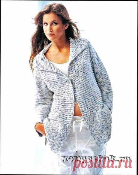 Вязаный полосатый жакет, кофта жакет-длинный рукав спицы - схема вязания, фото, описание