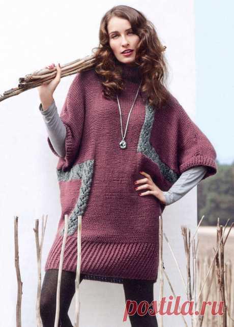 Платье кокон спицами с широким рукавом - Портал рукоделия и моды