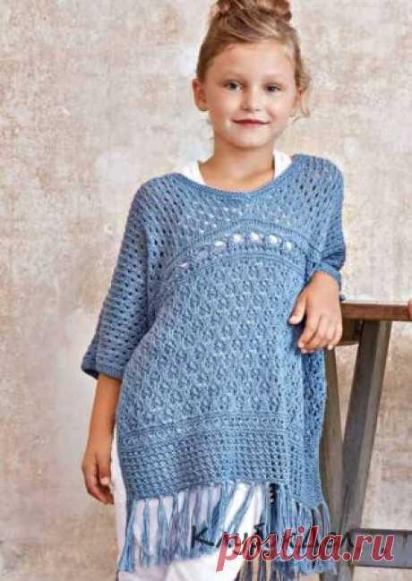 Пуловер-пончо для девочки. Вязание спицами для детей, выкройка и описание