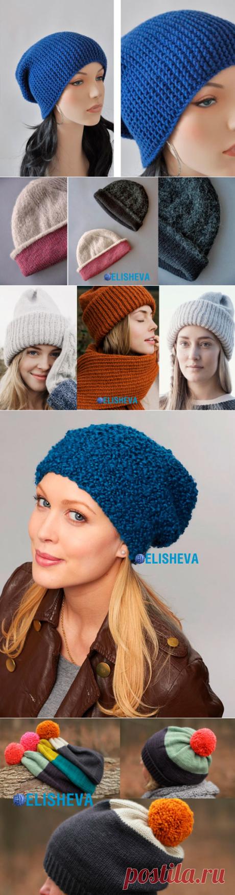 Простые бини шапки вязаные спицами