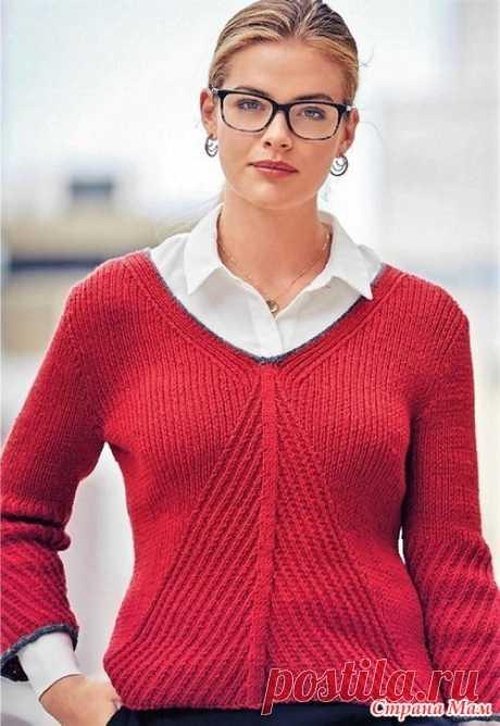 Офисный стиль. Эфектный пуловер спицами. - ВЯЗАНАЯ МОДА+ ДЛЯ НЕМОДЕЛЬНЫХ ДАМ - Страна Мам