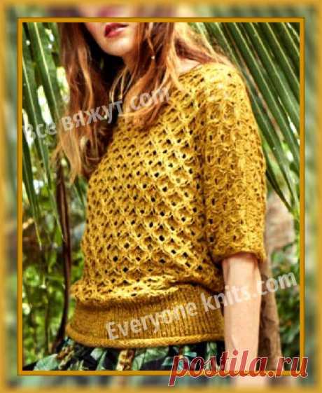 Пуловер решётчатым, рельефным узором из льняной пряжи с рукавом кимоно. | Все вяжут.сом/Everyone knits.com | Яндекс Дзен