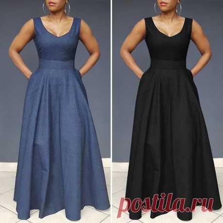 VONDA летнее платье, женские вечерние макси длинные платья, пляжный сарафан размера плюс, сексуальное богемное платье без рукавов, Повседневное платье|Платья| | АлиЭкспресс
