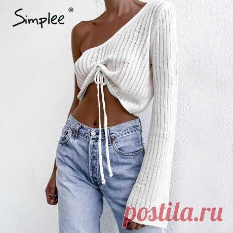Simplee сексуальный женский свитер на одно плечо с завязками белый короткий расклешенный Женский пуловер с расклешенным рукавом свитер для ночного клуба Новинка