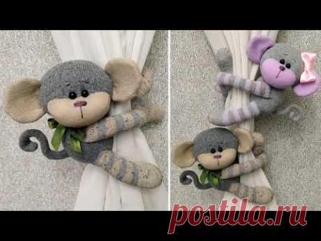 Чудесные обезьянки из носков - Подхваты для штор