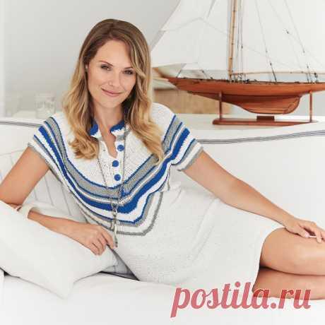 Платье в морском стиле - схема вязания спицами с описанием на Verena.ru