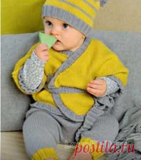 Двухцветный кардиган, штаны и шапочка схема » Люблю Вязать