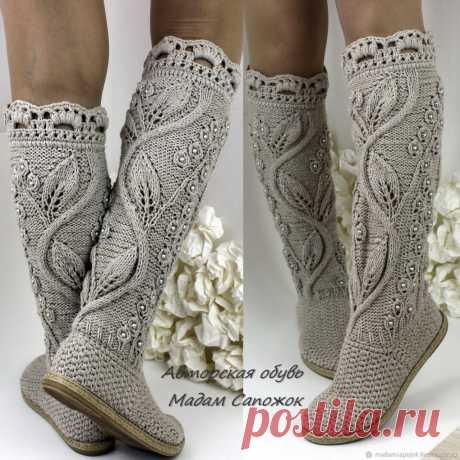 Идеи для любителей вязания — красивая вязаная  обувь от мастера Мадам Сапожок Ксения . Милая Я