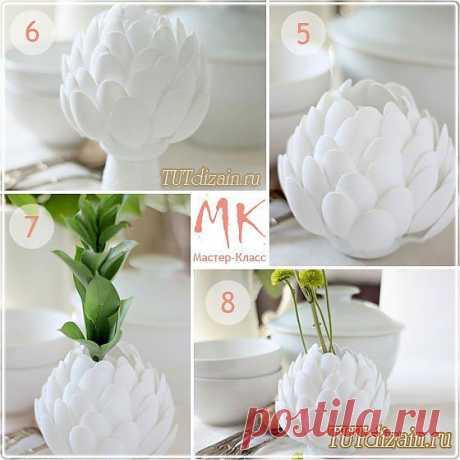 Стильная ваза из одноразовых ложек