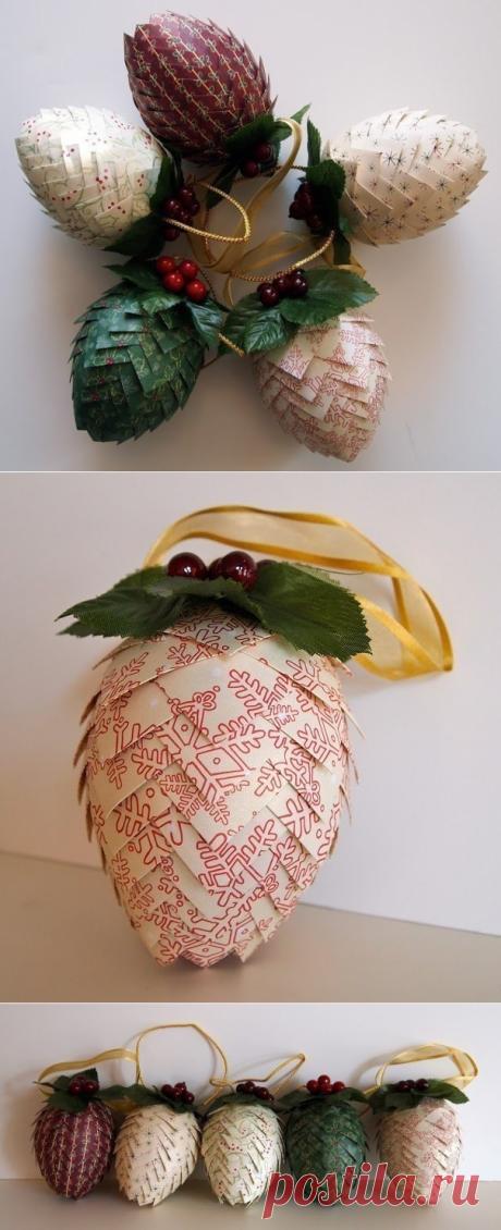 Новогодние шишки из бумаги (а можно попробовать из ткани) на елку