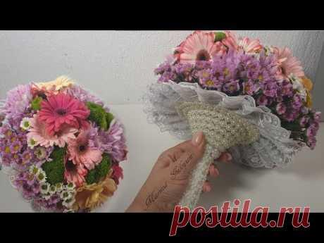 Свадебный букет на портбукете из живых цветов Wedding bouquet✔ Marine DIY Guloyan✔