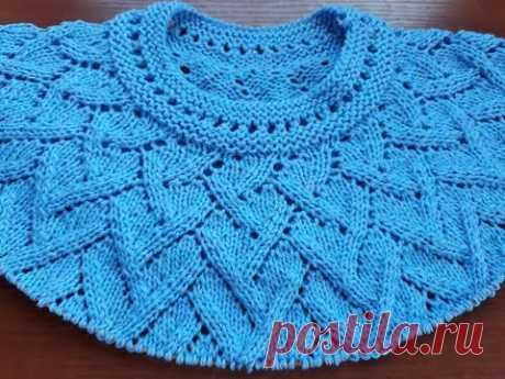 Пуловер спицами (круглая кокетка). Часть 7. Перед + спинка, подрезы (1-2 ряды)
