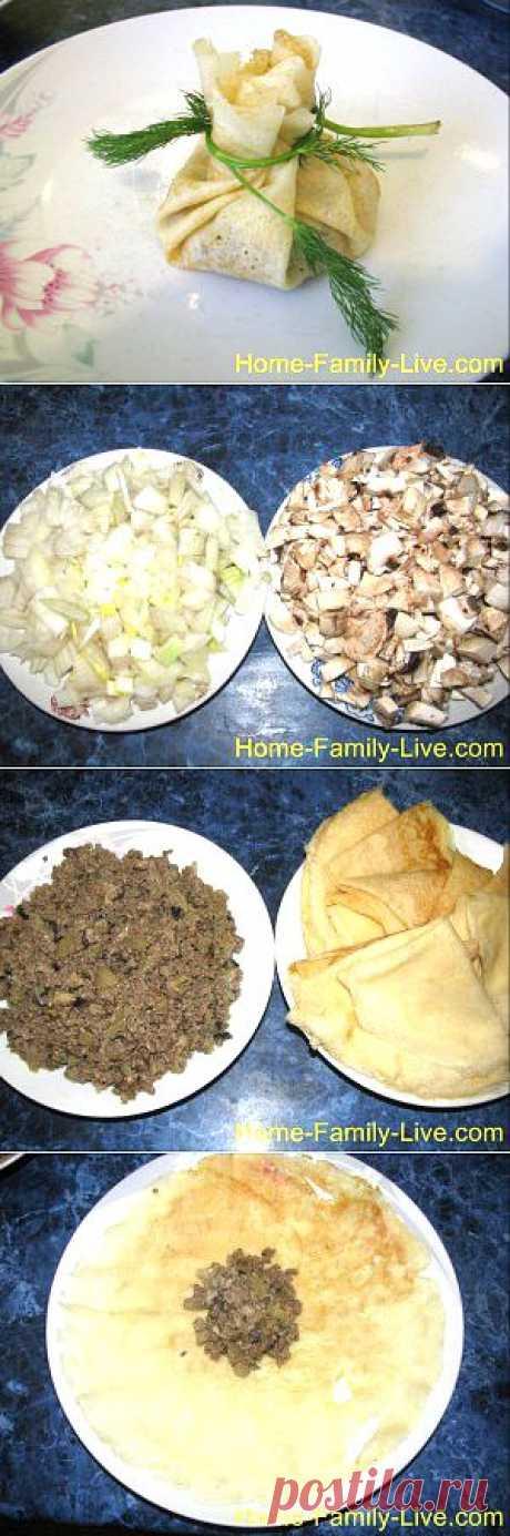 Кулинарные рецепты Блины фаршированные мясом и грибами - рецепт с фото