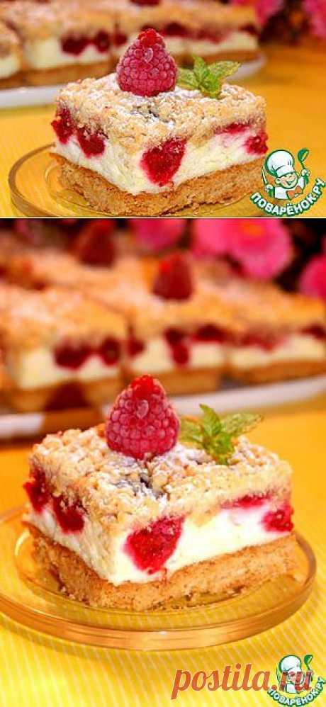 Пирог с малиной и воздушным пудингом - кулинарный рецепт