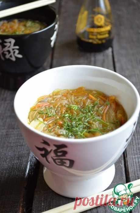 Густой грибной суп с фунчозой - кулинарный рецепт
