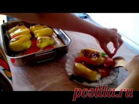 Перец фаршированный творогом,  Peppers stuffed with cheese