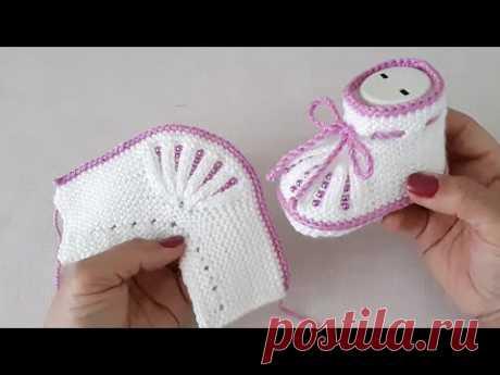 İki Şişle Boncuklu Bebek Patiği Yapılışı /Knitting Baby Socks Booties DIY Pattern Design