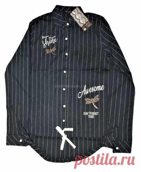 Рубашка для девочки Blueland, в полосочку со стрекозой - Интернет-магазин - Одежда для детей