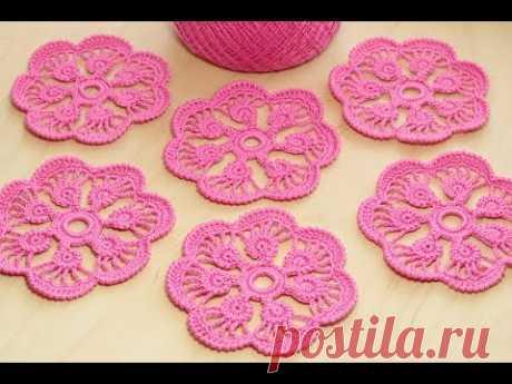 Crochet flower tutorial ЦВЕТОК с лепестками из шнура гусеничка ВЯЗАНИЕ КРЮЧКОМ
