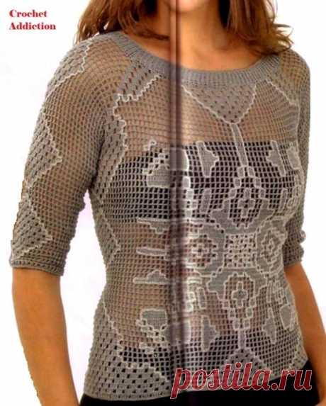 Филейное вязание крючком схемы блузки. Кофточка филейной вязкой |