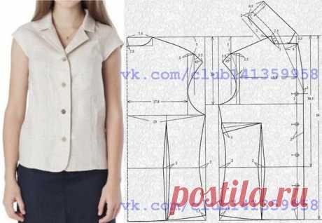45db9038d10 Блузка с короткими цельнокроеными рукавами и английским воротником.  Выкройка на размер 44-46 (