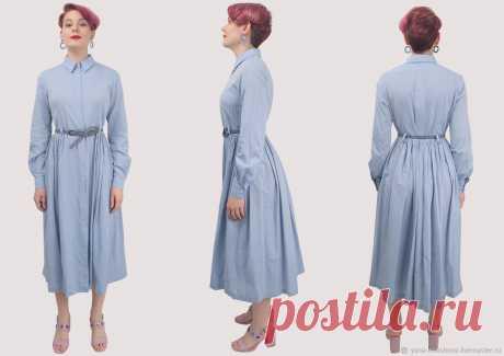 Платье-рубашка длинное с широкой юбкой любого цвета и размера – заказать на Ярмарке Мастеров – LPRU2RU | Платья, Москва