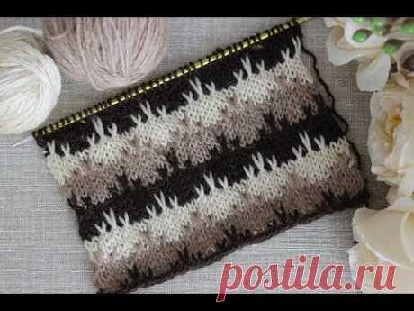 Красивый многоцветный узор спицами для вязания свитера, джемпера, кардигана