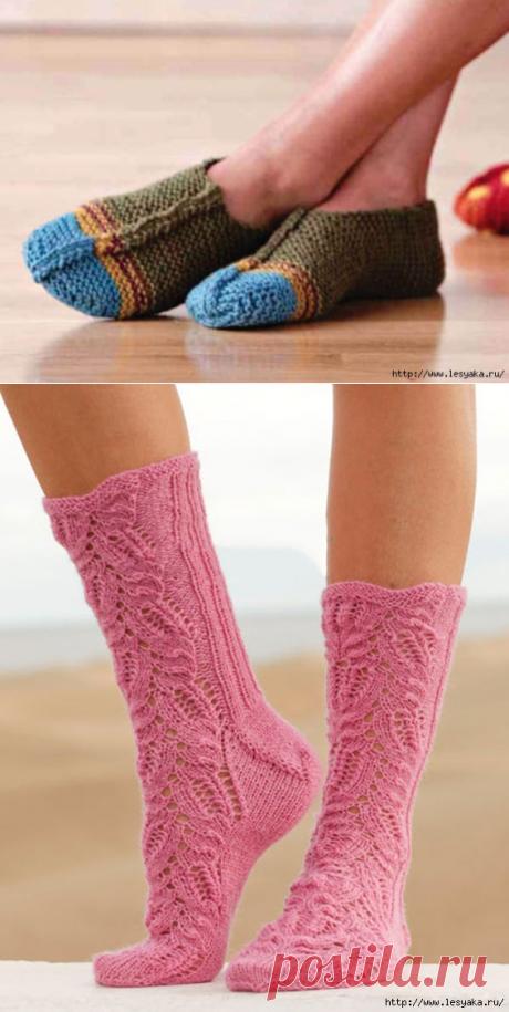 Модные домашние тапочки и красивые ажурные носочки спицами!
