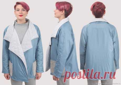 Куртка голубая осенняя короткая под пояс плюссайз оверсайз – купить на Ярмарке Мастеров – LPQY8RU | Куртки, Москва